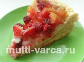Яблочный пирог с малиной и заварным кремом в мультиварке