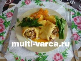 Мясные роллы или штрудели с овощами в мультиварке