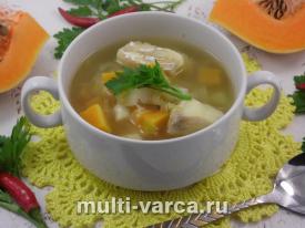Рыбный суп из трески с тыквой и овощами