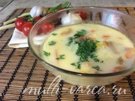 Сырный суп с капустой и говядиной в мультиварке