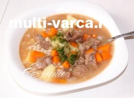 Суп из перловки с мясом в мультиварке