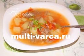 Суп с картошкой рисом и помидорами в мультиварке