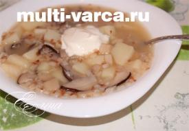 Грибной суп из подберезовиков с гречкой в мультиварке