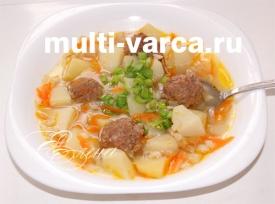 Мясной суп с фрикадельками и перловкой в мультиварке Редмонд