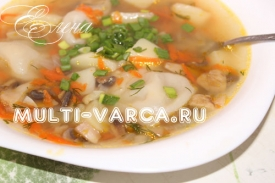 Суп с пельменями, картошкой и грибами в мультиварке