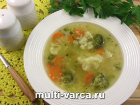 Суп с брокколи и курицей в мультиварке