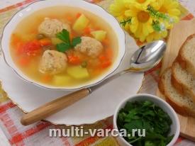 Суп с рыбными фрикадельками из горбуши с пшеном в мультиварке