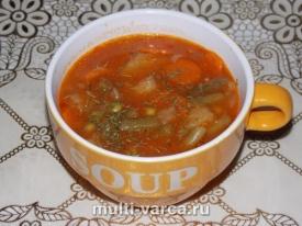 Томатный суп с фасолью в мультиварке