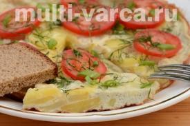 Омлет из яиц без молока в мультиварке или испанская тортилья