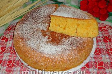 Морковный пирог на кефире в мультиварке