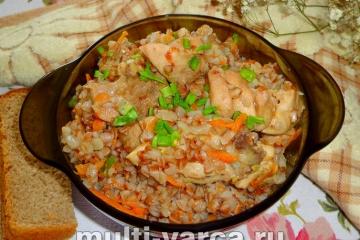 Как приготовить курицу с гречкой в сливках в мультиварке, пошаговый рецепт с фото.