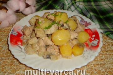 Индейка с грибами и картофелем в мультиварке