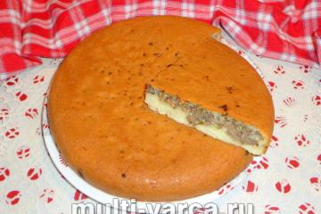 Пирог с печенью в мультиварке