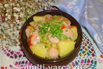 Овощное рагу с сосисками в мультиварке