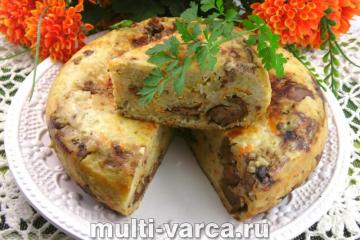 Пирог с рисом и куриной печенью в мультиварке