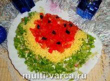 Салат с курицей и болгарским перцем «Арбузная долька»