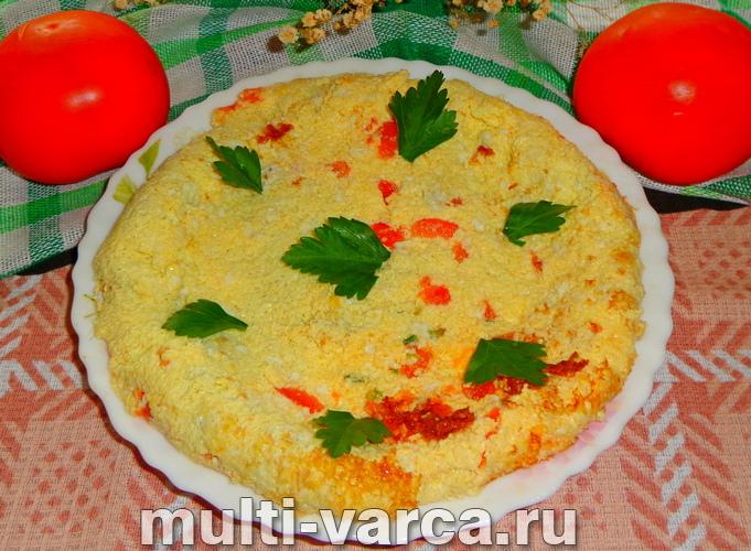 Томатная яичница с зеленым луком в мультиварке - рецепт пошаговый с фото